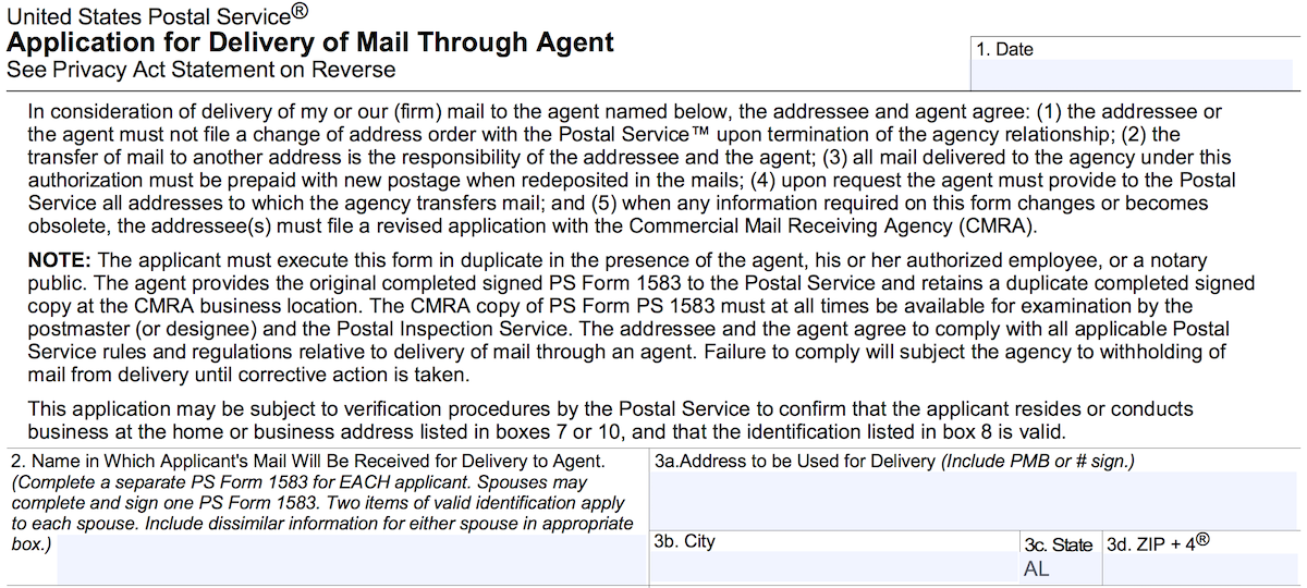 Postal Services 1583 Application for Deliviery of Mail Through Agent Form