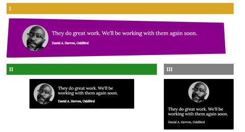three blockquotes, styled differently