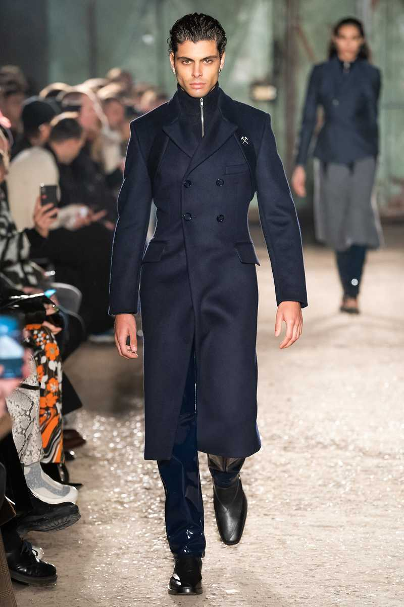 THOR GMBH AW19 VINYL TROUSERS NAVY RUNWAY