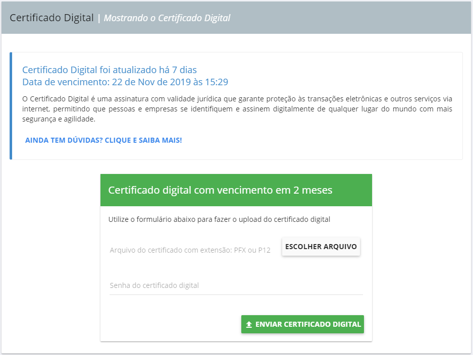Upload do certificado