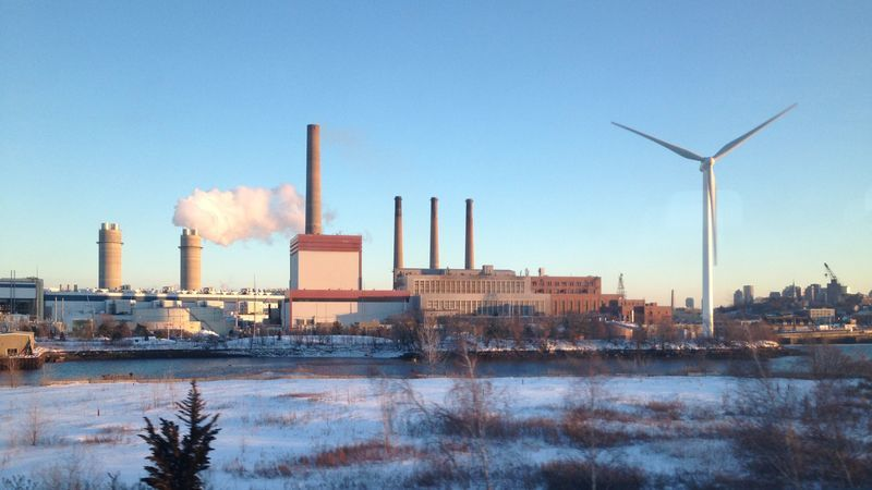 Boston's incursion into Everett, turbine, bordered by the Mystic Generating Station, fossil power plant.