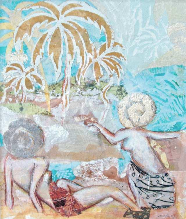 Bali Jiwa 4, woodblock acrylic on paper