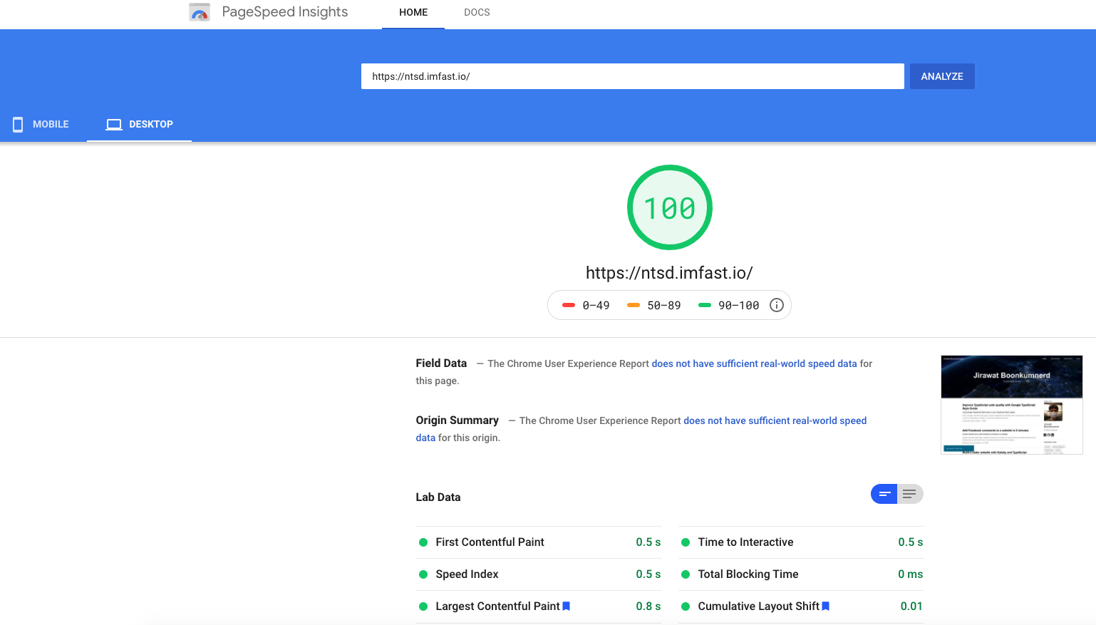 PageSpeed Insights Fast.io Desktop Result