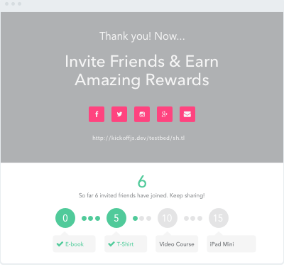 An example thank you page with viral refer a friend tools