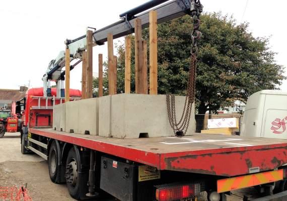 1.5m Concrete Barrier on Truck