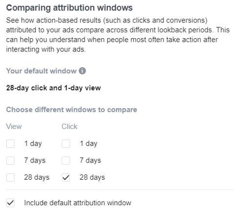 Facebook segment post click and post view conversions