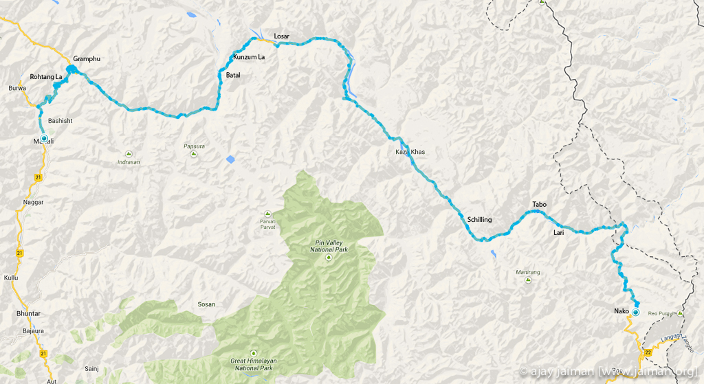 Nako to Manali cycling route map