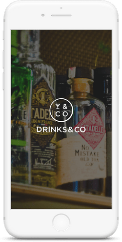 Drinks & Co site shown on an iPhone.