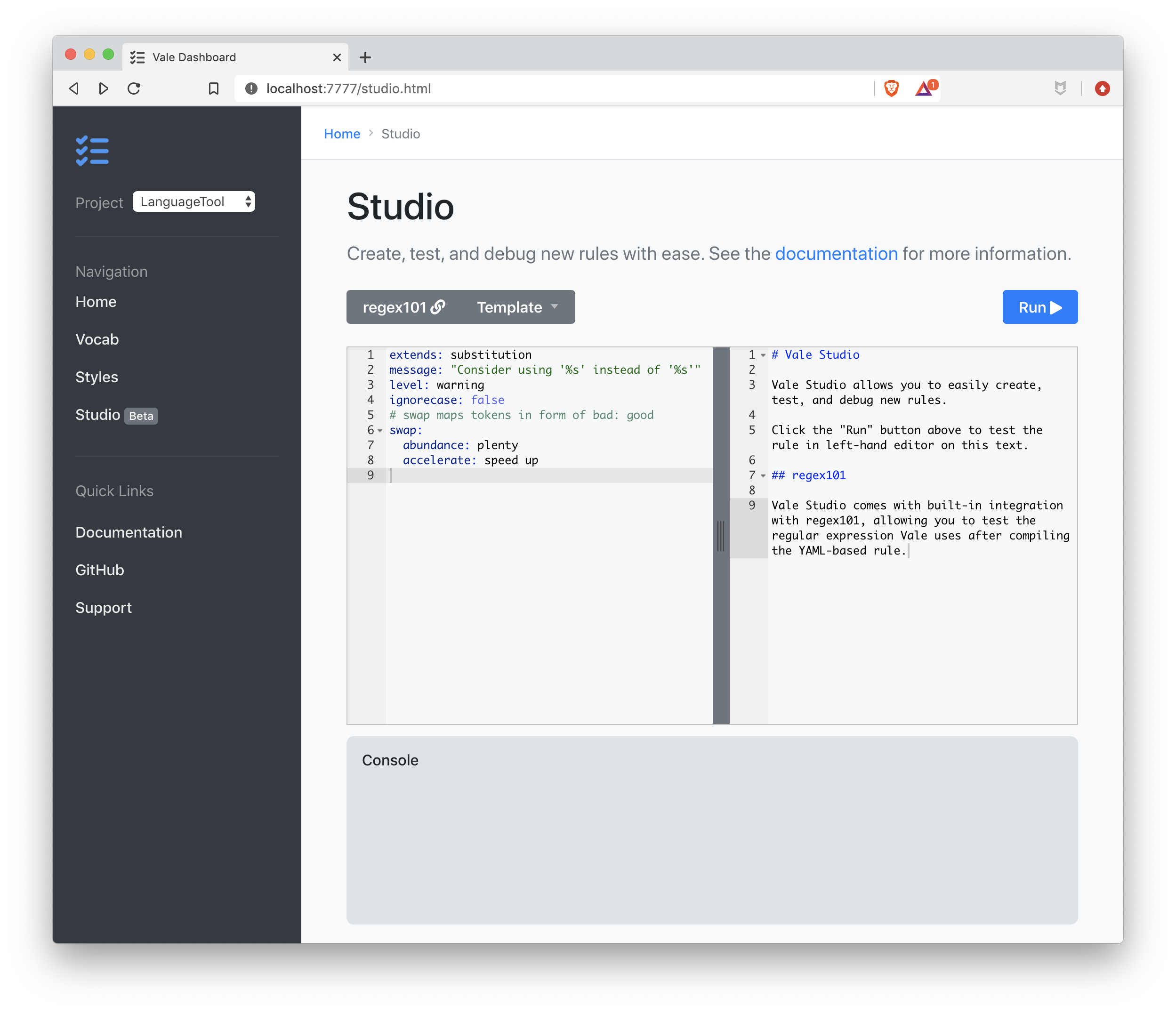 A screenshot of the dashboard's Studio page.
