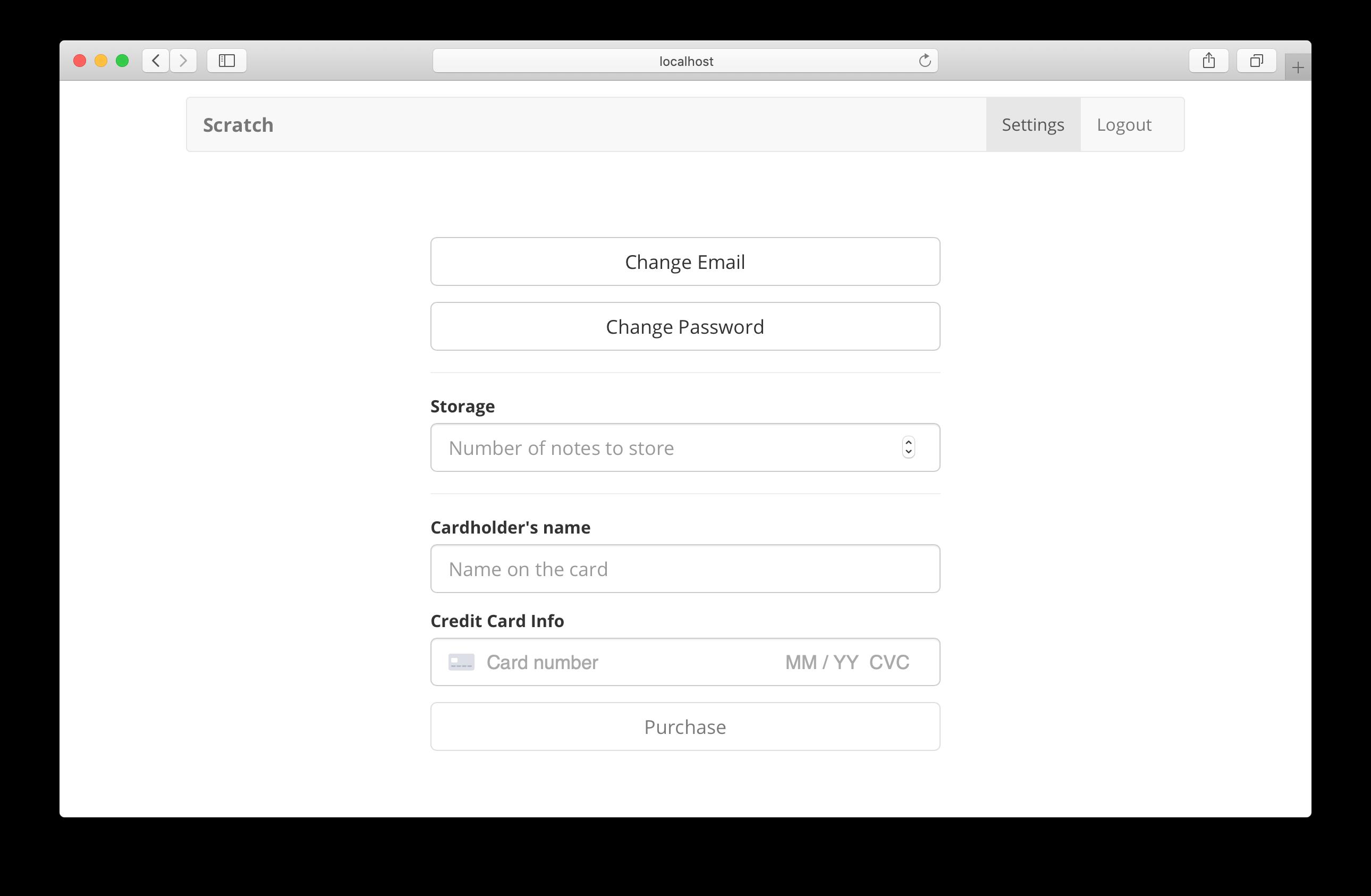 Settings page screenshot