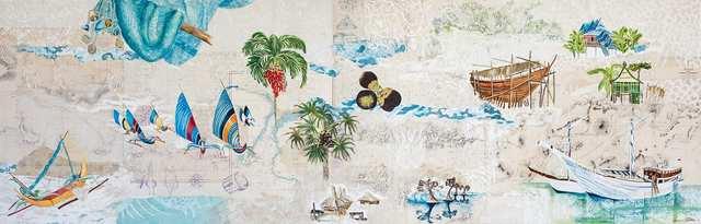 Archipelago 1, acrylic woodblock marine-charts collage on canvas