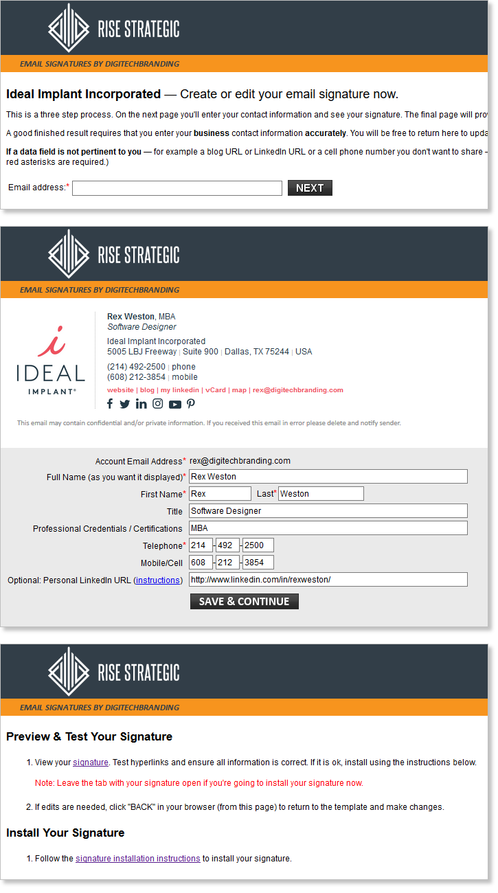 email signature data-entry portal