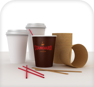 Cups stirrers and straws for your coffee service