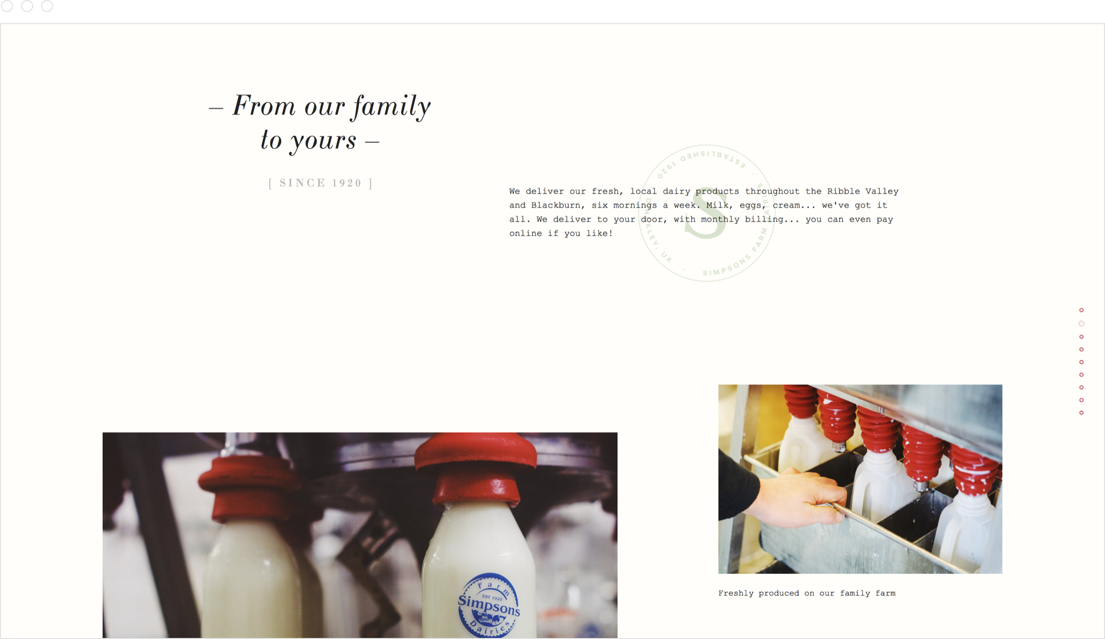 Authentic, rustic website design by Jack Watkins for Lancashire dairy farm, Simpsons Farm Dairies