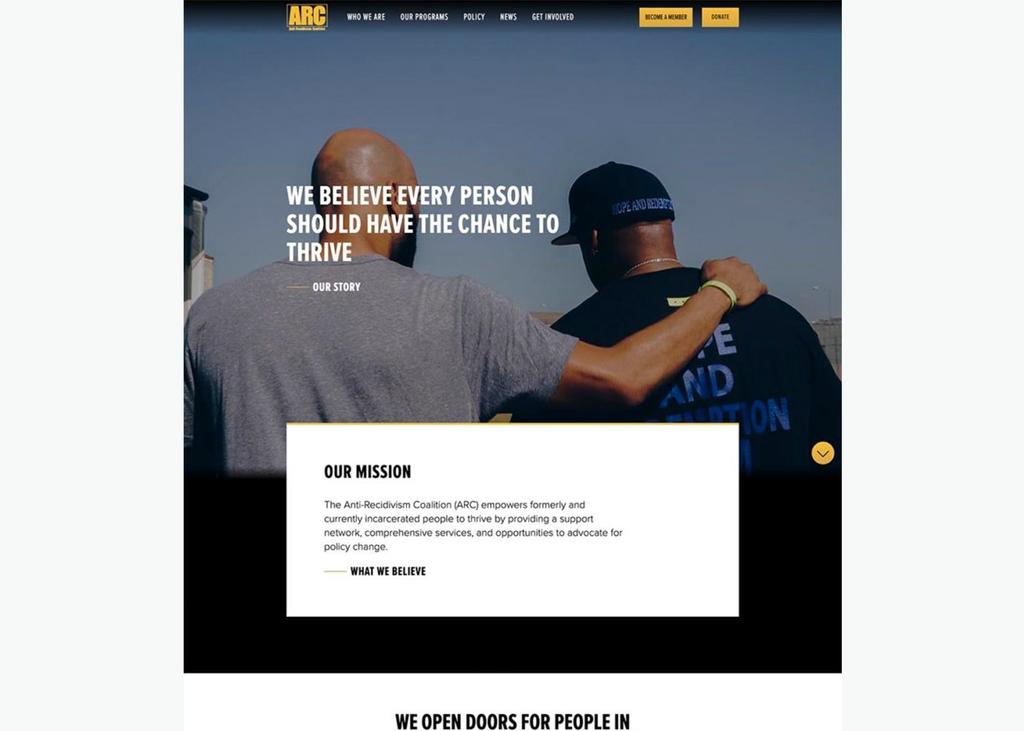 ARC homepage desktop screenshot