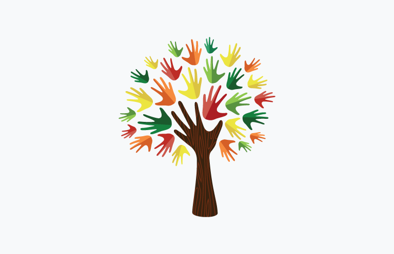 A colorful tree, with a brown outstretched hand forming the trunk and branches, and the leaves made from smaller multi-colored hands