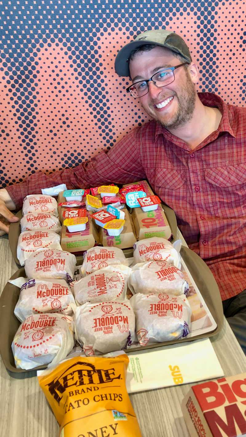 Captain with his burgers and nuggets