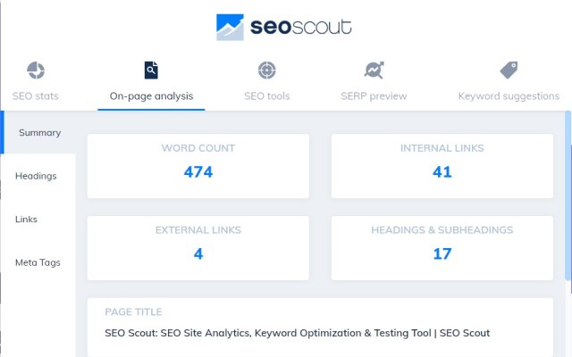 Preview of the SEO Tool Extension
