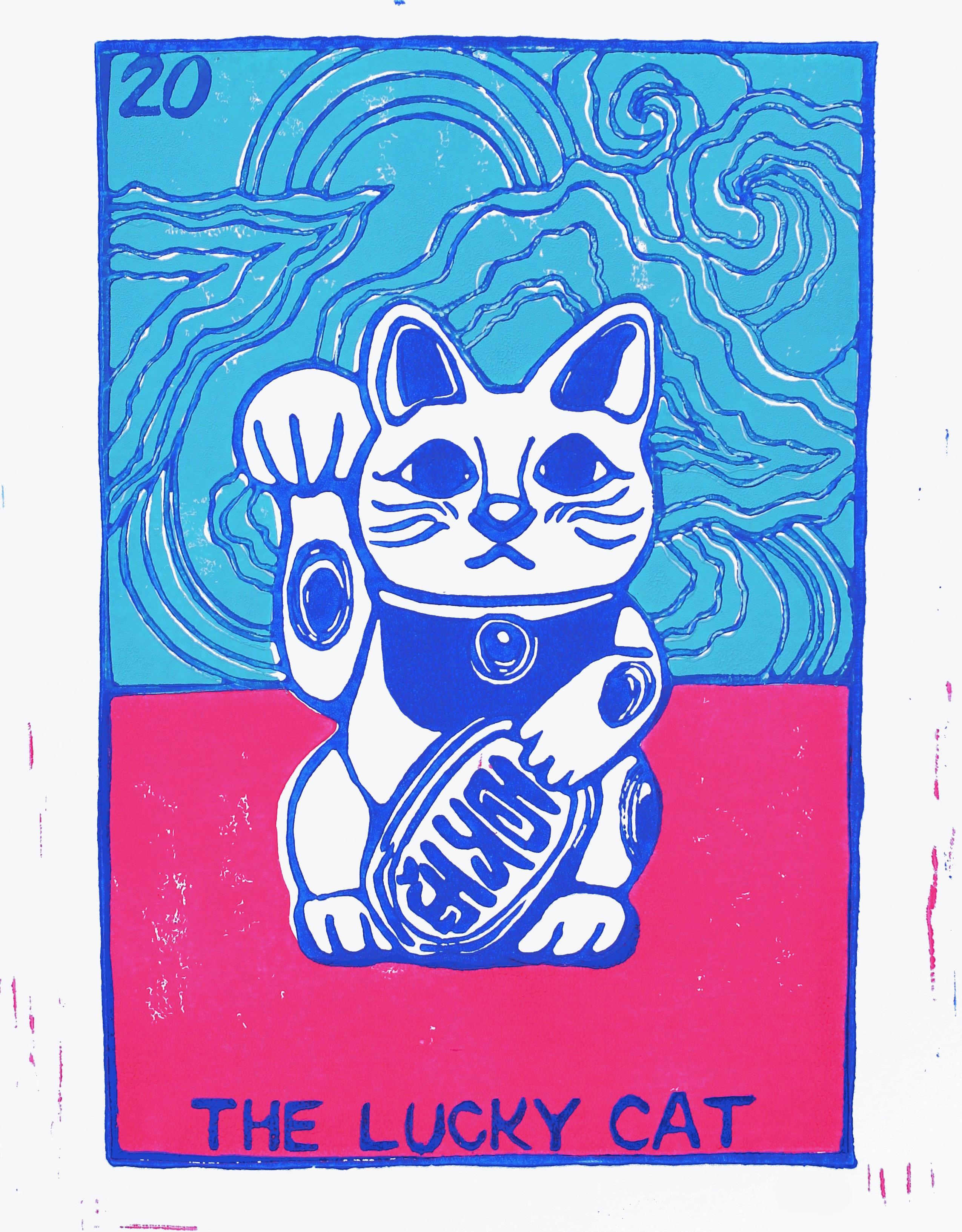 LUCKY CAT, linocut print on paper, 2020.
