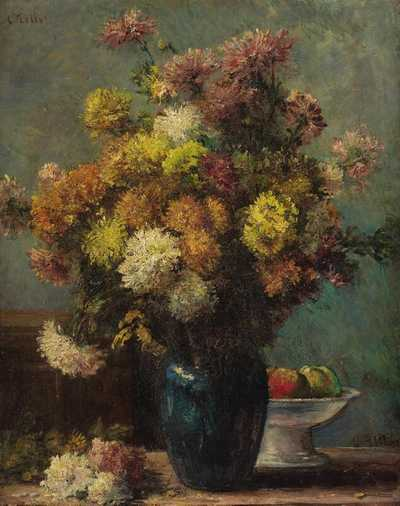 Flowers in a Blue Vase by Charles Tillot. A newcomer to the Impressionist group.