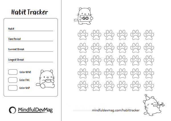 printable habit tracker cat design black and white version