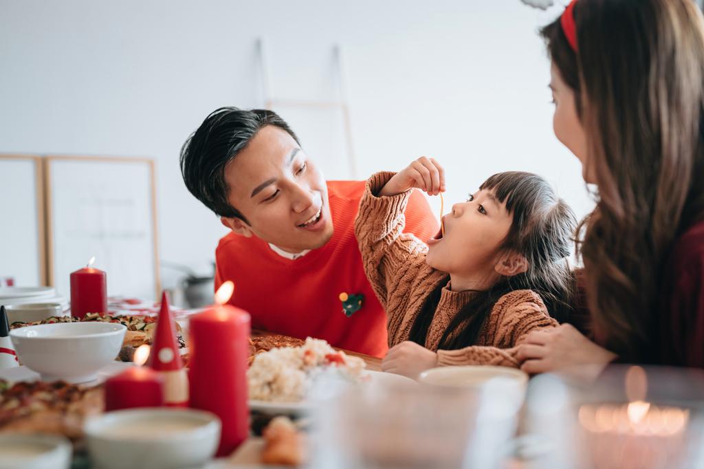 Family having a Christmas meal
