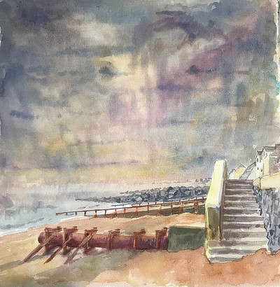 radiant watercolour painting of view along Sandgate beach with river outlet pipe