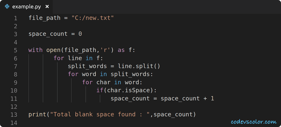 python count blank space in file