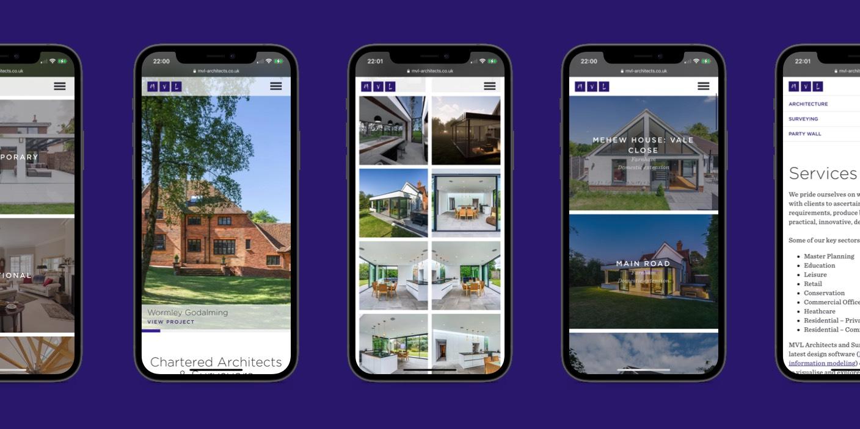 MVL Architects website design - Mobile view