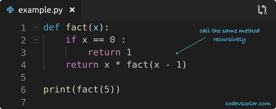 python find factorial using recursion
