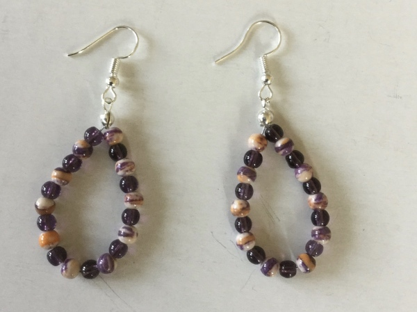 Purple and calsilica beaded earrings