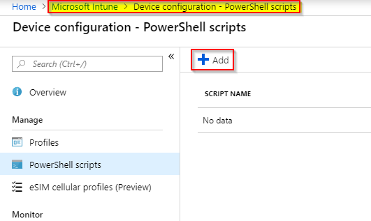 Image depicting how to add a powershell script to intune