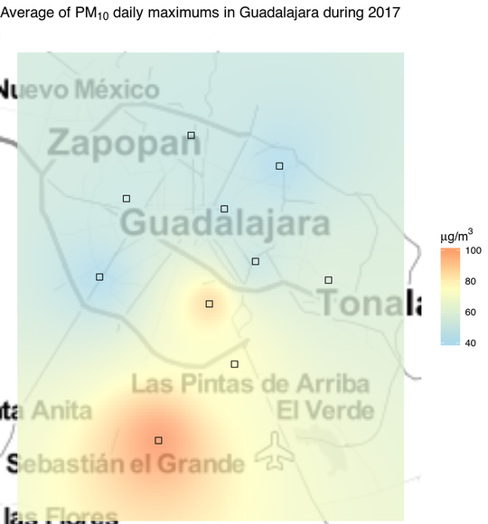 Map of PM10 pollution in Guadalajara during 2017