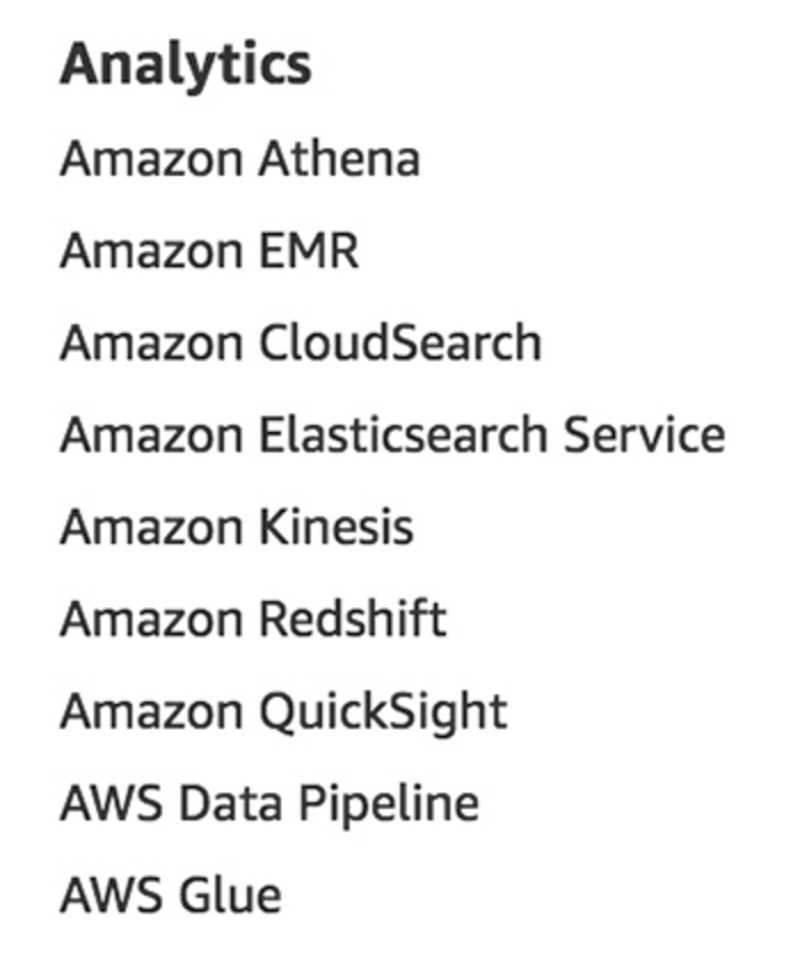 Analytics services as listed on aws.amazon.com