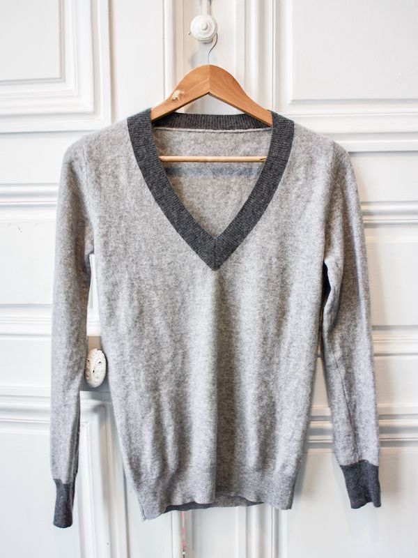 Pull en maille avant upcycling