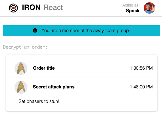 Screenshot of app after Spock was added to the group showing he can now decrypt orders