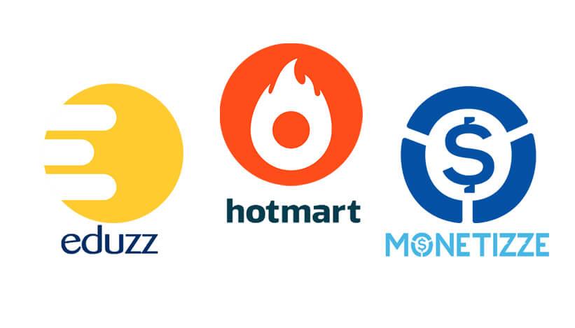 Logotipo de cada plataforma digital, a esquerda Eduzz, centro Hotmart, direita monetizze