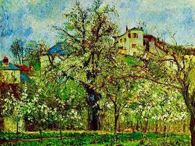 A colourful Pissarro from 1877 of an orchard in flower