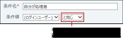 条件値にログインユーザーを設定している画像