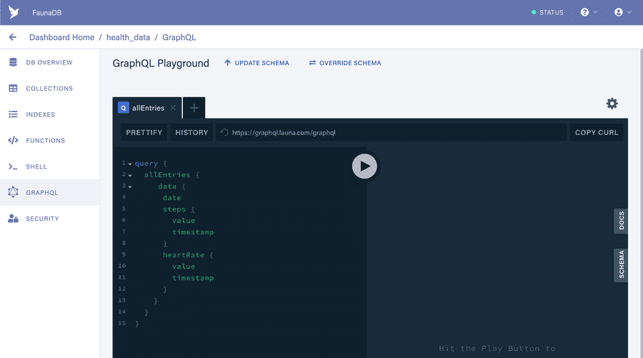Screenshot of FaunaDB GraphQL playground with a query to get all our entries