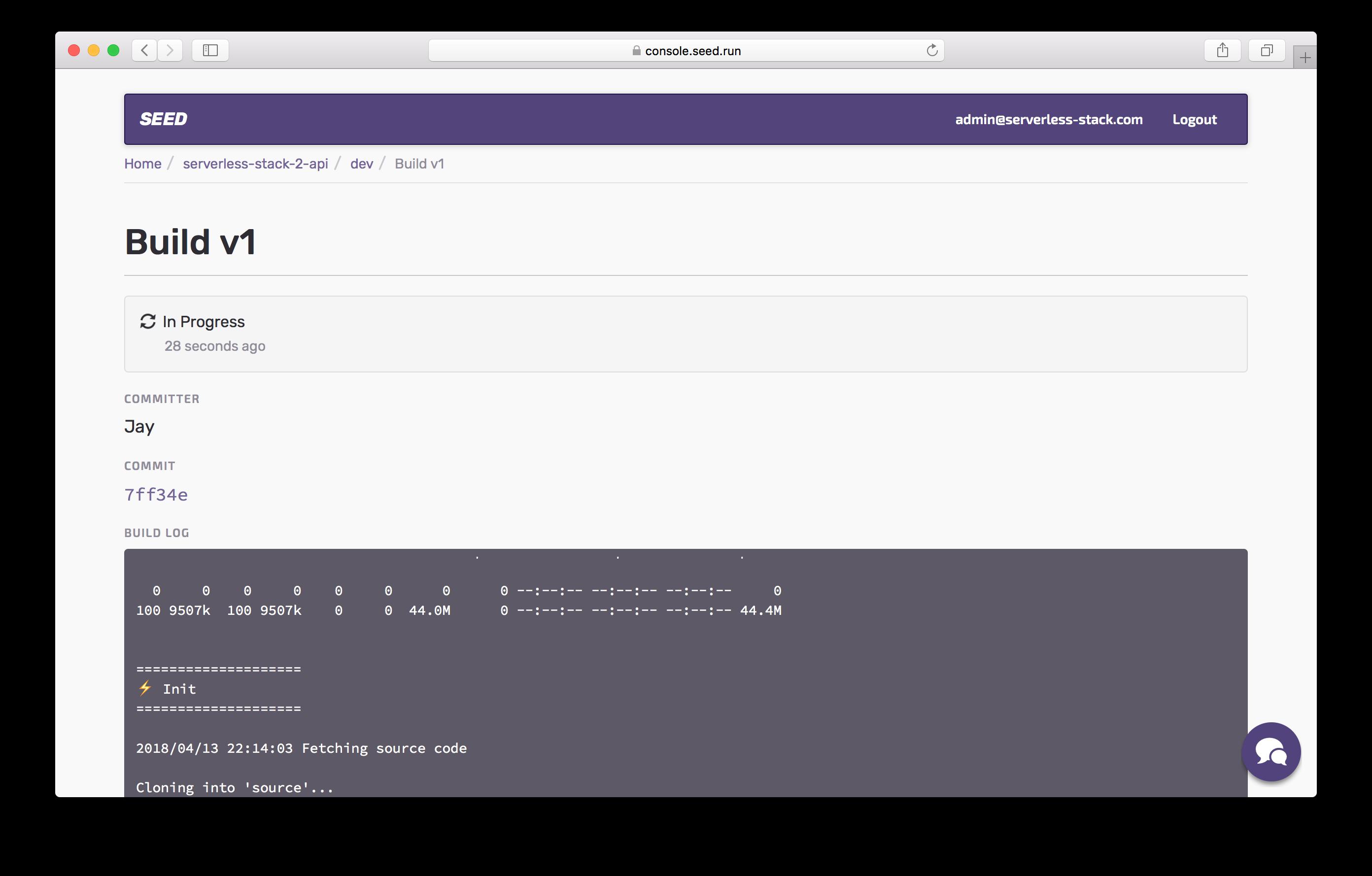 Dev build logs in progress screenshot