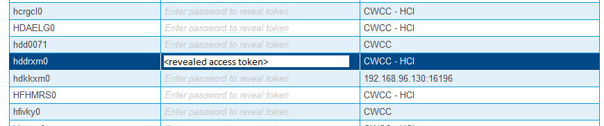 Revealed access token