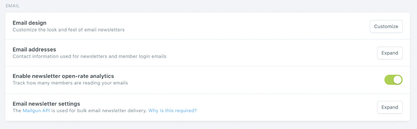Ghost CMS Disable Email and Members Analytics