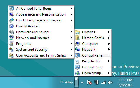 Programs contextual menu on windows 8