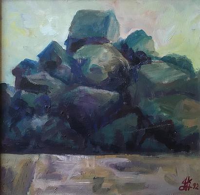 painting of rocks on Sandgate beach