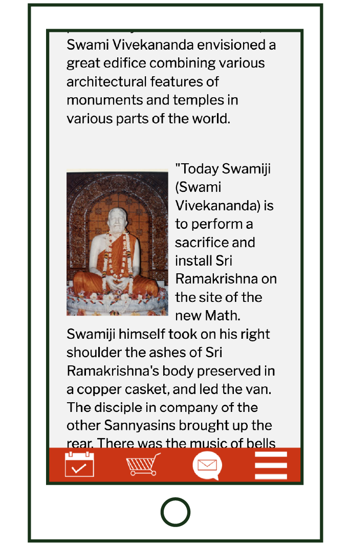 mobile layout of inner text page