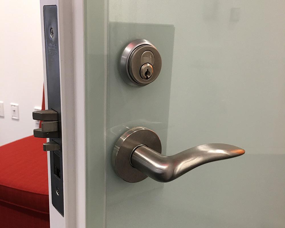Door with Glass Veneer and Lock