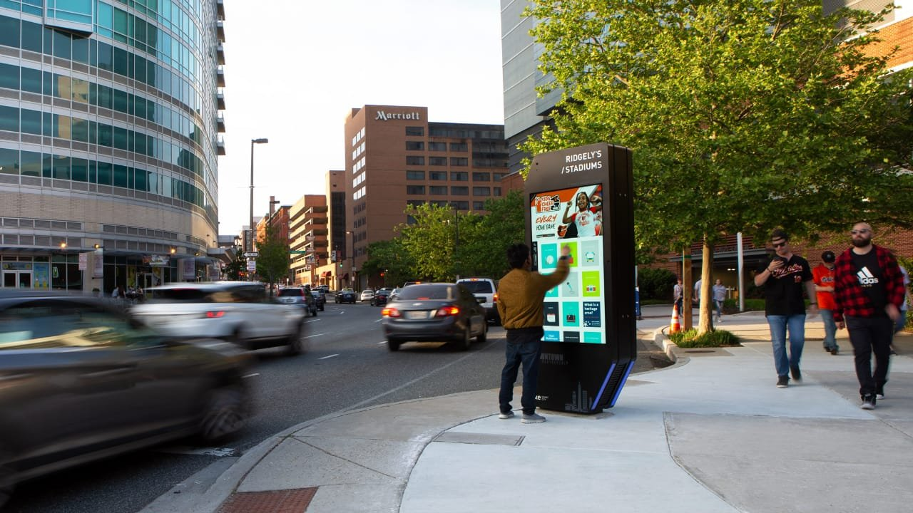An IKE smart kiosk in the sidewalk in Baltimore, Maryland