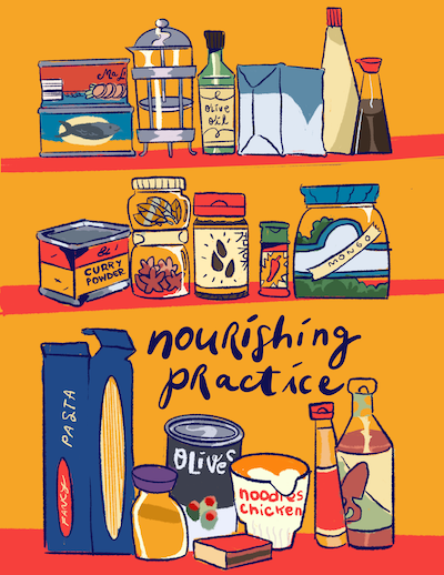 The cover for Nourishing Practice. There are three shelves of spices and cooking ingredients.