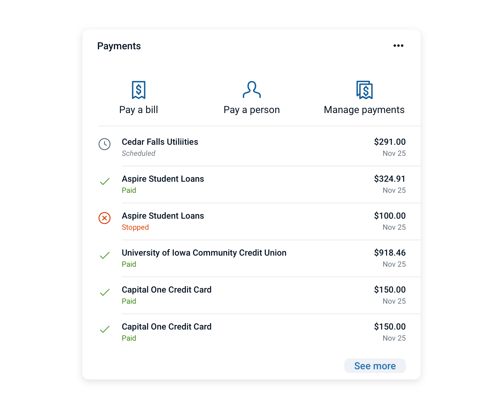 A card layout that combines a group of vertical icon buttons with list items in the content area